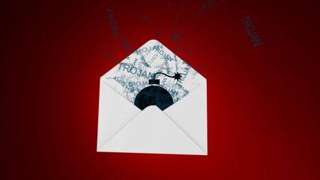 Trojan virus. E-mail virus. attack via the global network.. Stock Photo