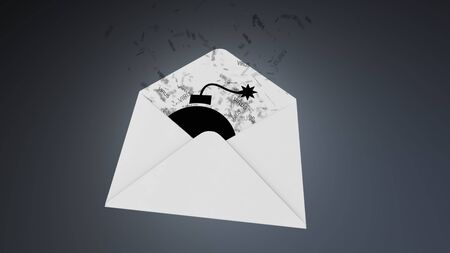 illustration infected: E-mail virus. attack via the global network.. Stock Photo