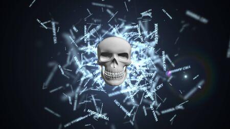 Computervirus. Infectie van de database en servers. wil huilen