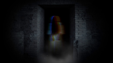 Ghost girl in doorway. A terrible ghost.
