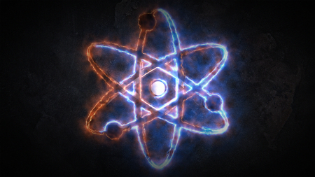 The sign of the atom is glowing.