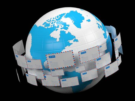 Many letters fly in a circle. Internet mail. Delivery of correspondence worldwide