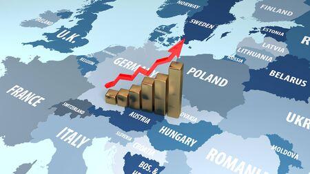 Income growth in the EU. Successful Eu. 3D illustration.