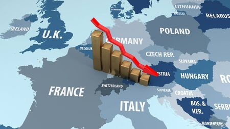 The Crisis Of The European Union. The fall in income of the European Union. 3D illustration.