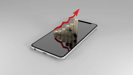 Work through the phone. Sales of mobile devices. 3D illustration. Stok Fotoğraf