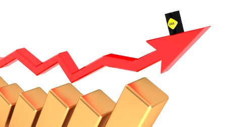 Rising prices of oil, diesel fuel. Oil prices are rising. 3D illustration.