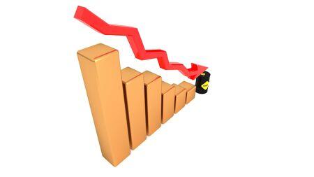 Falling oil prices, oil becomes cheaper. Oil barrel. 3D illustration.