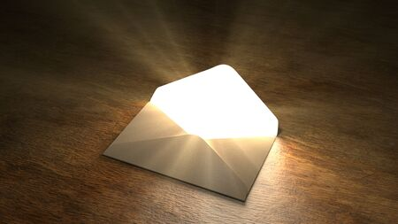 Fairytale mail. Mysterious letter with magic light. 55. Banque d'images - 127762818