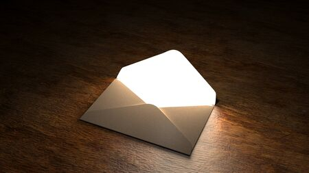 Fairytale mail. Mysterious letter with magic light. 3D illustration. Stok Fotoğraf