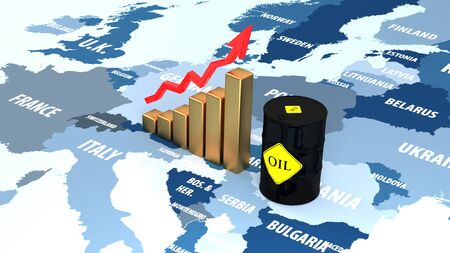 Rising prices in the European market. Oil rises in price on news. Stok Fotoğraf