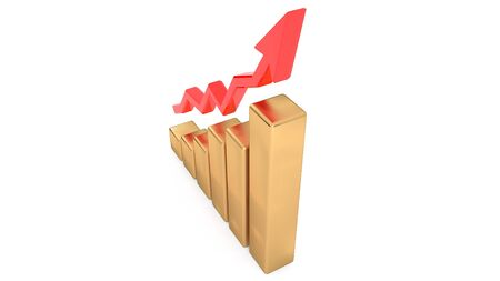 Schedule of revenue growth. The growth of production. Success in business. 3D illustration.