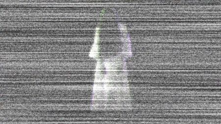 Spooky ghost on tv. Scary ghost in white clothes. illustration.