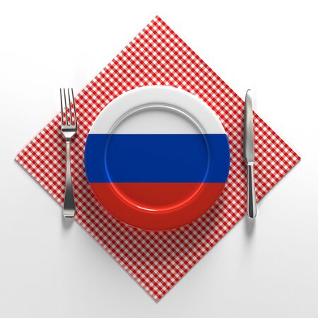 National dishes of Russia. Delicious recipes from Europe. Flag on a plate with food from Russia. 3D illustration.