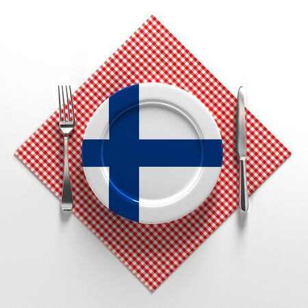 National dishes of Finland. Delicious recipes from Scandinavia. Flag on a plate with food from Finland. 3D illustration.