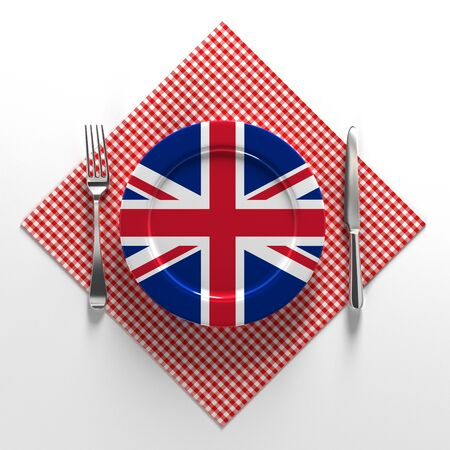 National dishes of English. Delicious recipes from Europe. Flag on a plate with food from English. 3D illustration.