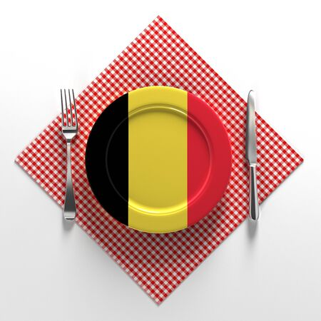 National dishes of Belgium. Delicious recipes from Europe. Flag on a plate with food from Belgium. 3D illustration. Stok Fotoğraf