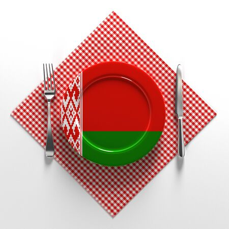 French cuisine Belarus flag on a plate. Dishes made in Belarus. 3D illustration.