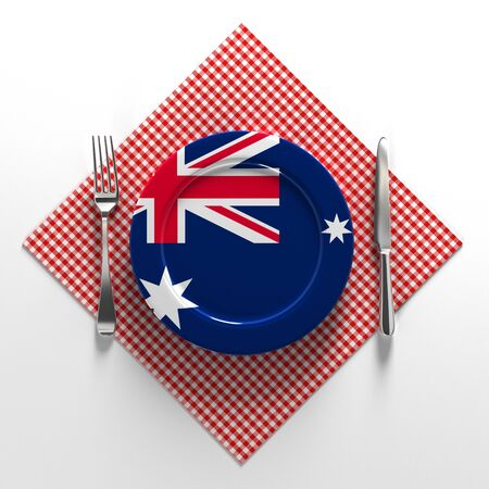 National dishes of Australia. Delicacies. Flag on a plate with food from Australia. 3D illustration. Stok Fotoğraf