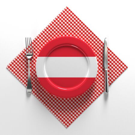 National dishes of Austria. Delicious recipes from Europe. Flag on a plate with food from Austria. 3D illustration.