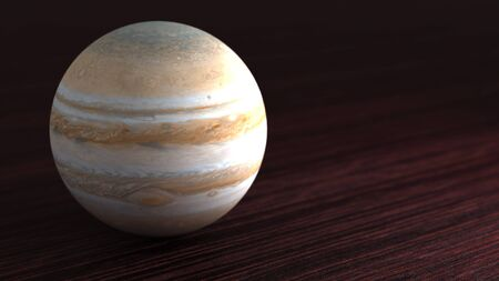 Planet of the solar system Jupiter. Little planet lies on the table. 3D illustration. Stok Fotoğraf