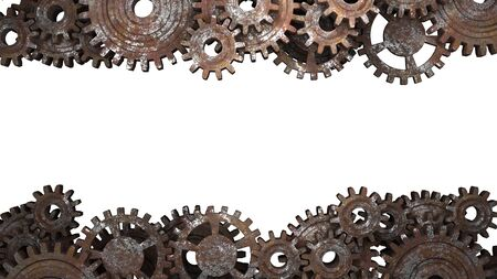Old vintage frame from rusty gears. Photo Frame. 3D illustration.