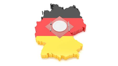 National dishes of Germany. Delicious recipes from Europe. Flag on a plate with food from Germany. 3D illustration Stok Fotoğraf