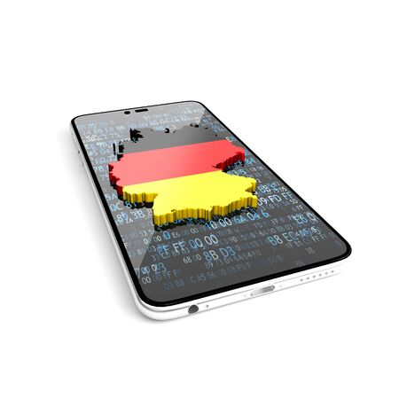 Map of Germany on the phone. Guide to Germany. How to get to Germany. 3D illustration