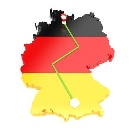 Traveling through Germany. Pave the way on the map. 3D illustration. Stok Fotoğraf