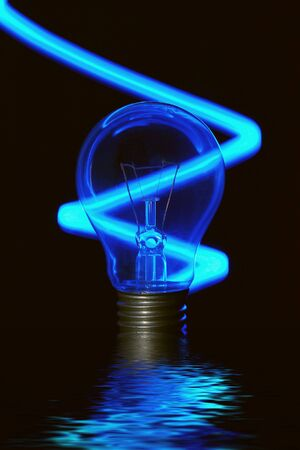 incandescent: An incandescent globe with neon effect on a black background, over water. Stock Photo