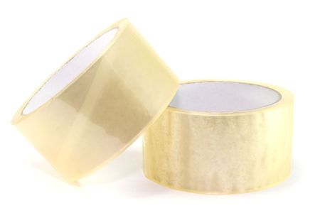 two rolls of packing tape, isolated on white background. Stock Photo