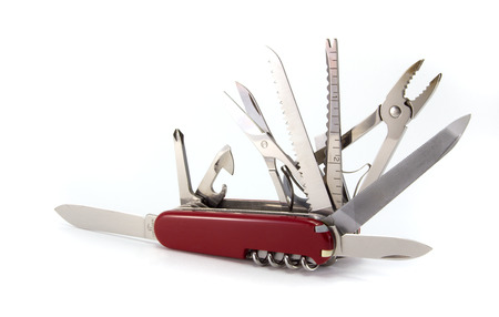 스위스 육군 칼, 흰 배경에 고립. 스톡 콘텐츠
