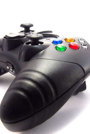 Close-up of a video game controller, isolated on white background. Stock Photo