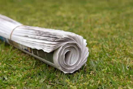 rolled: A home delivered newspaper on the lawn. Stock Photo