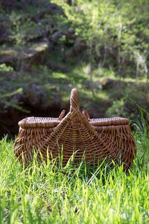 A woven picnic basket on grass, nature setting. Stock Photo