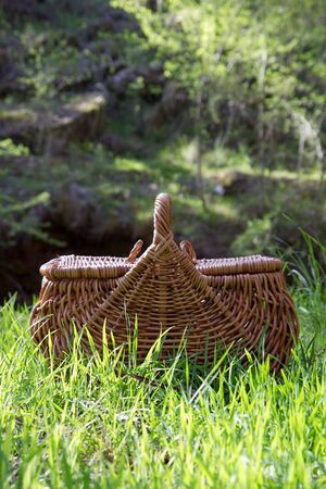 A woven picnic basket on grass, nature setting. Stock Photo