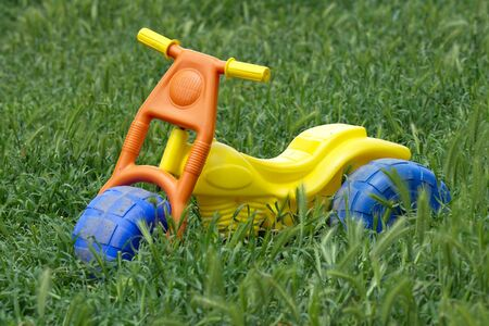 A childs toy bike left in the overgrown grass. photo