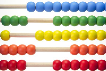 A childs learning abacus on a white background. Stock Photo