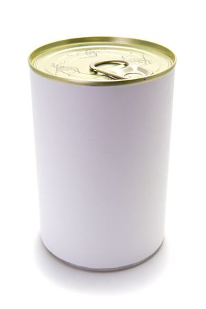 A tin food can on a white background with a blank label. Stock Photo