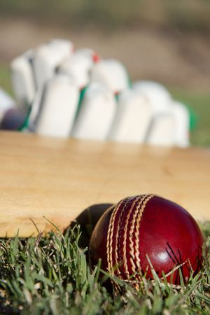 cricket game: Cricket ball, bat and gloves on the field. Stock Photo