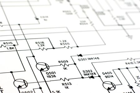 An electronic schematic diagram. Ideal technology background. photo