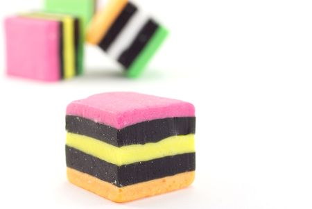 Liquorice allsorts, isolated on a white background.