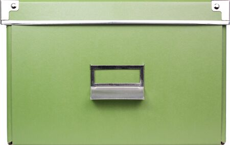 A green storage container with handle & label holder. Stock Photo - 4129524