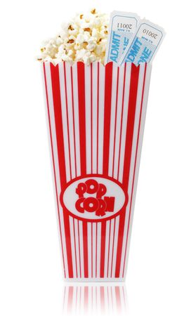 A cup of popcorn and two movie tickets, isolated on a white background. Stock Photo - 4811378