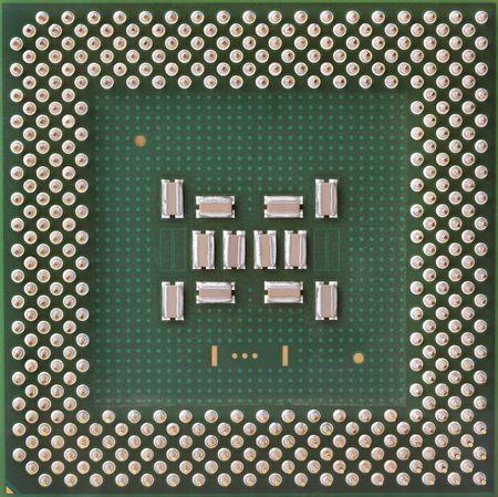 A close-up of a computer main processor unit. photo