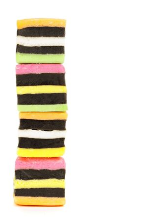 A stack of liquorice candy, isolated on a white background. Stock Photo