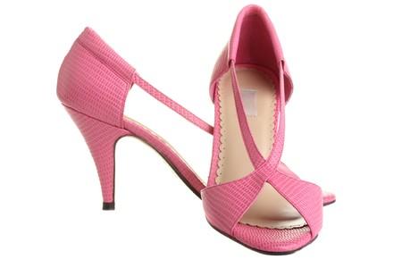 fraue: Pink Ladies Pumpen, isoliert auf weißem Hintergrund. Lizenzfreie Bilder