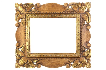 antique: An old antique gold picture frame, isolated. Stock Photo