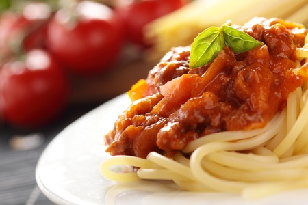 Spaghetti with a Bolognese and vegetable sauce. Stock Photo
