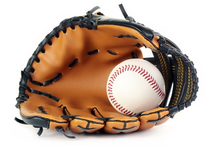 A new baseball in a new leather glove, isolated on a white background. Stock Photo