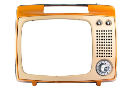 An old monochrome display TV, isolated on a white background. photo
